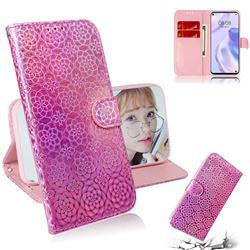Laser Circle Shining Leather Wallet Phone Case for Huawei P40 Lite 5G - Pink