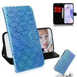 Laser Circle Shining Leather Wallet Phone Case for Huawei P40 Lite 5G - Blue