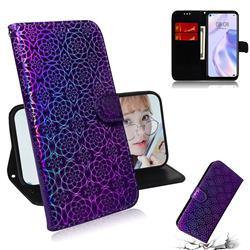 Laser Circle Shining Leather Wallet Phone Case for Huawei P40 Lite 5G - Purple