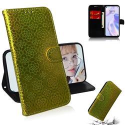 Laser Circle Shining Leather Wallet Phone Case for Huawei P40 Lite 5G - Golden