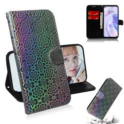 Laser Circle Shining Leather Wallet Phone Case for Huawei P40 Lite 5G - Silver