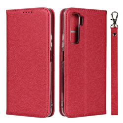 Ultra Slim Magnetic Automatic Suction Silk Lanyard Leather Flip Cover for Huawei P40 Lite 5G - Red