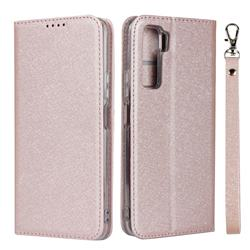 Ultra Slim Magnetic Automatic Suction Silk Lanyard Leather Flip Cover for Huawei P40 Lite 5G - Rose Gold