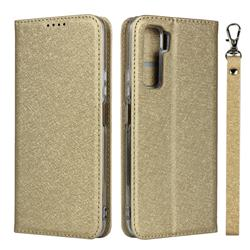 Ultra Slim Magnetic Automatic Suction Silk Lanyard Leather Flip Cover for Huawei P40 Lite 5G - Golden