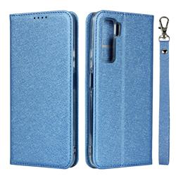 Ultra Slim Magnetic Automatic Suction Silk Lanyard Leather Flip Cover for Huawei P40 Lite 5G - Sky Blue