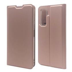 Ultra Slim Card Magnetic Automatic Suction Leather Wallet Case for Huawei P40 Lite 5G - Rose Gold