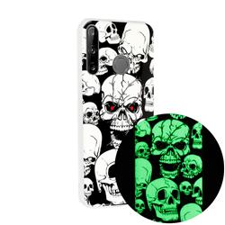 Red-eye Ghost Skull Noctilucent Soft TPU Back Cover for Huawei P40 Lite E