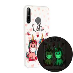 Couple Unicorn Noctilucent Soft TPU Back Cover for Huawei P40 Lite E