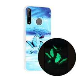 Flying Butterflies Noctilucent Soft TPU Back Cover for Huawei P40 Lite E