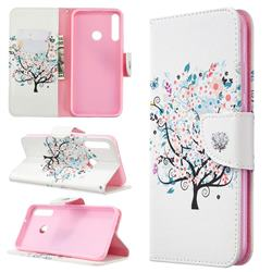 Colorful Tree Leather Wallet Case for Huawei P40 Lite E