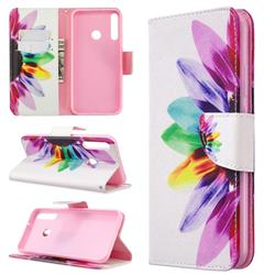 Seven-color Flowers Leather Wallet Case for Huawei P40 Lite E
