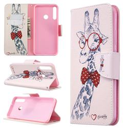 Glasses Giraffe Leather Wallet Case for Huawei P40 Lite E
