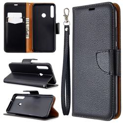 Classic Luxury Litchi Leather Phone Wallet Case for Huawei P40 Lite E - Black