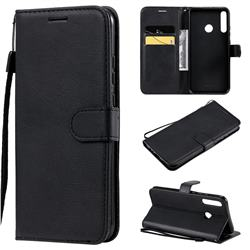 Retro Greek Classic Smooth PU Leather Wallet Phone Case for Huawei P40 Lite E - Black
