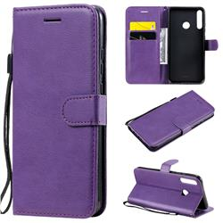 Retro Greek Classic Smooth PU Leather Wallet Phone Case for Huawei P40 Lite E - Purple