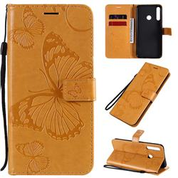 Embossing 3D Butterfly Leather Wallet Case for Huawei P40 Lite E - Yellow