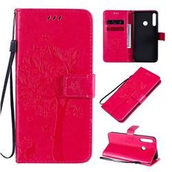 Embossing Butterfly Tree Leather Wallet Case for Huawei P40 Lite E - Rose