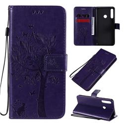 Embossing Butterfly Tree Leather Wallet Case for Huawei P40 Lite E - Purple