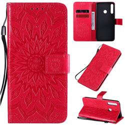 Embossing Sunflower Leather Wallet Case for Huawei P40 Lite E - Red