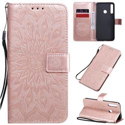 Embossing Sunflower Leather Wallet Case for Huawei P40 Lite E - Rose Gold
