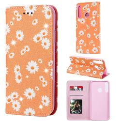 Ultra Slim Daisy Sparkle Glitter Powder Magnetic Leather Wallet Case for Huawei P40 Lite E - Orange