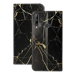 Black Gold Marble PU Leather Wallet Case for Huawei P40 Lite E