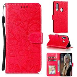 Intricate Embossing Lace Jasmine Flower Leather Wallet Case for Huawei P40 Lite E - Red