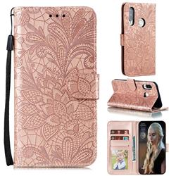 Intricate Embossing Lace Jasmine Flower Leather Wallet Case for Huawei P40 Lite E - Rose Gold