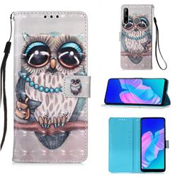 Sweet Gray Owl 3D Painted Leather Wallet Case for Huawei P40 Lite E