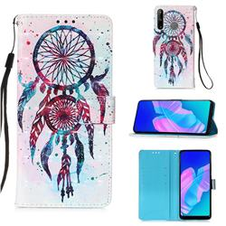 ColorDrops Wind Chimes 3D Painted Leather Wallet Case for Huawei P40 Lite E