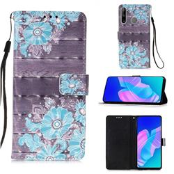 Blue Flower 3D Painted Leather Wallet Case for Huawei P40 Lite E