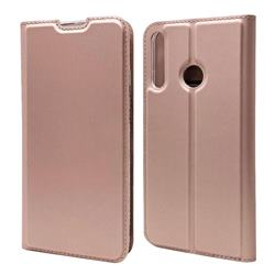 Ultra Slim Card Magnetic Automatic Suction Leather Wallet Case for Huawei P40 Lite E - Rose Gold