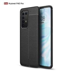 Luxury Auto Focus Litchi Texture Silicone TPU Back Cover for Huawei P40 Pro - Black