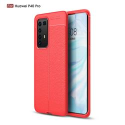 Luxury Auto Focus Litchi Texture Silicone TPU Back Cover for Huawei P40 Pro - Red