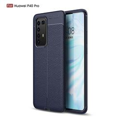 Luxury Auto Focus Litchi Texture Silicone TPU Back Cover for Huawei P40 Pro - Dark Blue