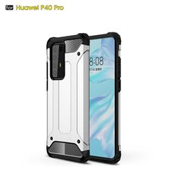 King Kong Armor Premium Shockproof Dual Layer Rugged Hard Cover for Huawei P40 Pro - White