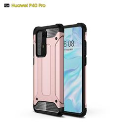King Kong Armor Premium Shockproof Dual Layer Rugged Hard Cover for Huawei P40 Pro - Rose Gold
