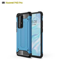 King Kong Armor Premium Shockproof Dual Layer Rugged Hard Cover for Huawei P40 Pro - Sky Blue