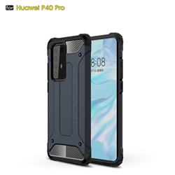 King Kong Armor Premium Shockproof Dual Layer Rugged Hard Cover for Huawei P40 Pro - Navy