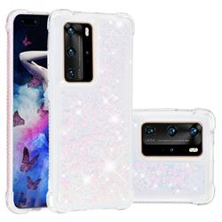 Dynamic Liquid Glitter Sand Quicksand Star TPU Case for Huawei P40 Pro - Pink