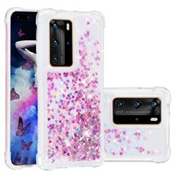 Dynamic Liquid Glitter Sand Quicksand Star TPU Case for Huawei P40 Pro - Rose