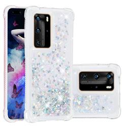 Dynamic Liquid Glitter Sand Quicksand Star TPU Case for Huawei P40 Pro - Silver