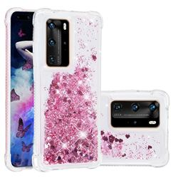 Dynamic Liquid Glitter Sand Quicksand Star TPU Case for Huawei P40 Pro - Diamond Rose