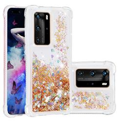 Dynamic Liquid Glitter Sand Quicksand Star TPU Case for Huawei P40 Pro - Diamond Gold