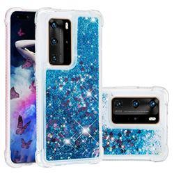 Dynamic Liquid Glitter Sand Quicksand TPU Case for Huawei P40 Pro - Blue Love Heart