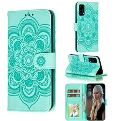 Intricate Embossing Datura Solar Leather Wallet Case for Huawei P40 Pro - Green