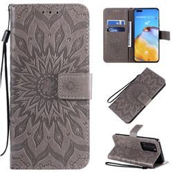 Embossing Sunflower Leather Wallet Case for Huawei P40 Pro - Gray