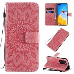 Embossing Sunflower Leather Wallet Case for Huawei P40 Pro - Pink