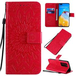 Embossing Sunflower Leather Wallet Case for Huawei P40 Pro - Red