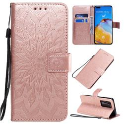 Embossing Sunflower Leather Wallet Case for Huawei P40 Pro - Rose Gold